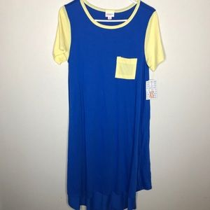 NWT Lularoe Carly Blue Pocket ALine Swing Dress
